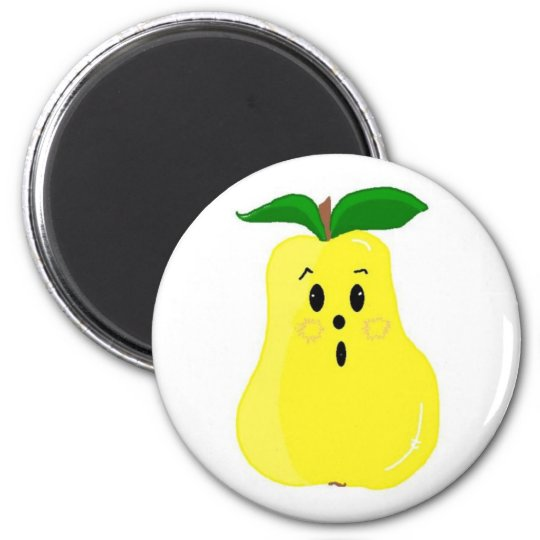 Cute Pear Face 6 Cm Round Magnet