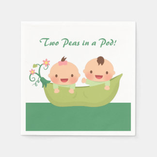 Cute Peas in a Pod Twin Baby Shower Supplies Paper Napkin
