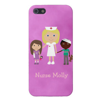 Cute Pediatric Nurse & Children Purple Case For The iPhone 5
