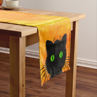 Cute Peek-A-Boo Black Cat on Halloween Orange Short Table Runner