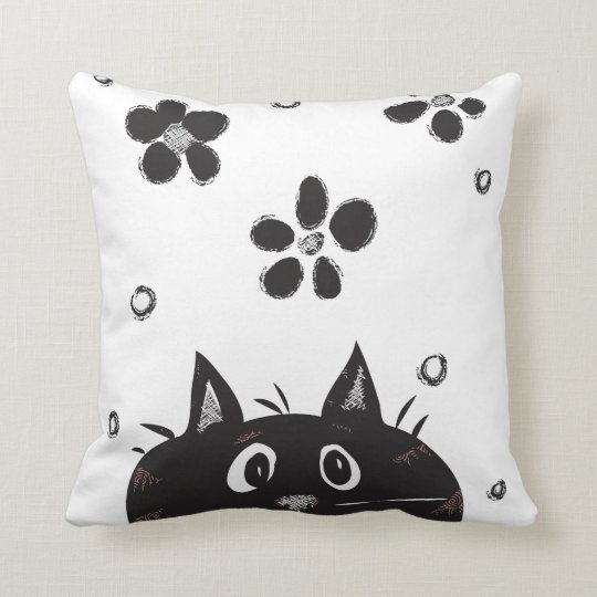 Cute Peek A Boo Cat Throw Pillow