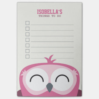 Cute Peekaboo Happy Pink Owl To Do List Post-it® Notes