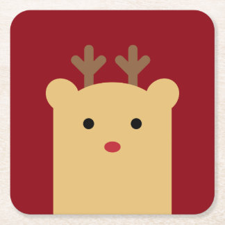 Cute Peekaboo Reindeer Coaster Set Square Paper Coaster