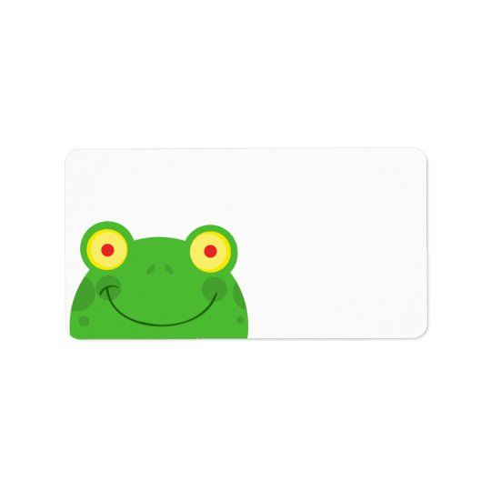 cute peeking cartoon frog froggy face label