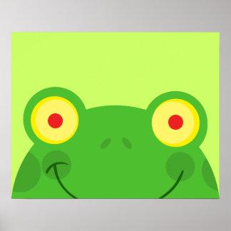 cute peeking cartoon frog froggy face poster