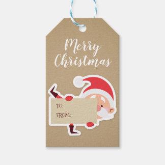 Cute Peeking Santa Christmas Gift Tag