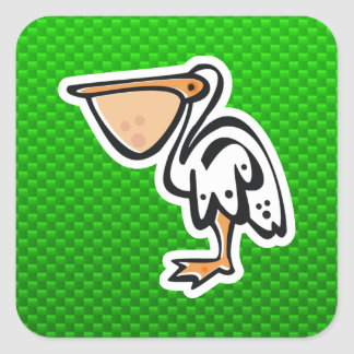 Cute Pelican; Green Square Sticker