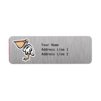 Cute Pelican; Metal-look Return Address Label