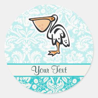 Cute Pelican; Teal Round Sticker