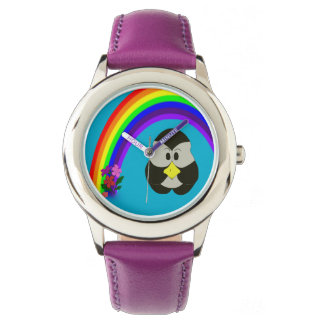 cute pengu penguin wit rainbow wrist watch
