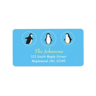 cute penguin address labels