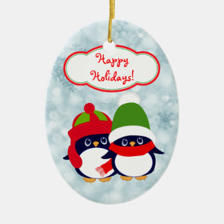 Cute Penguin Babies Blue Bokeh Christmas Ornament