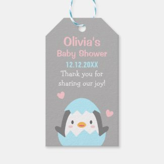 Cute Penguin Baby Shower Thank You Gift Tags