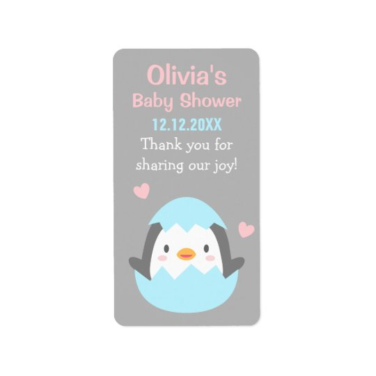 Cute Penguin Baby Shower Thank You Labels