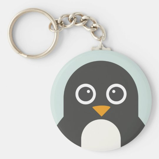 Cute Penguin Basic Round Button Key Ring