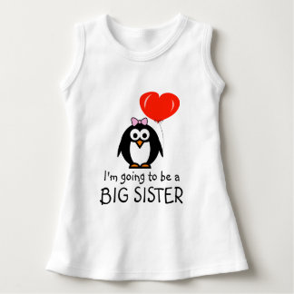 Cute penguin Big Sister baby dress for sibling