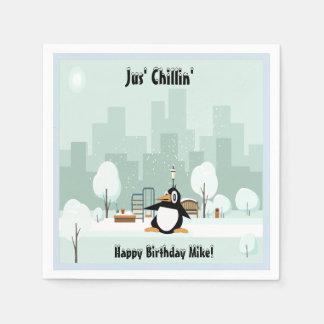 Cute Penguin Birthday Cocktail Napkins Disposable Napkin