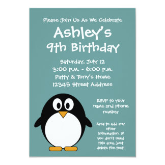 Cute Penguin Birthday Party Invitation