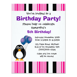 Cute Penguin Birthday Pink Purple Party Invitation