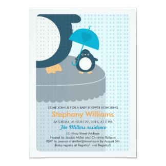 Cute Penguin Boy Baby Shower Invitation 13 Cm X 18 Cm Invitation Card