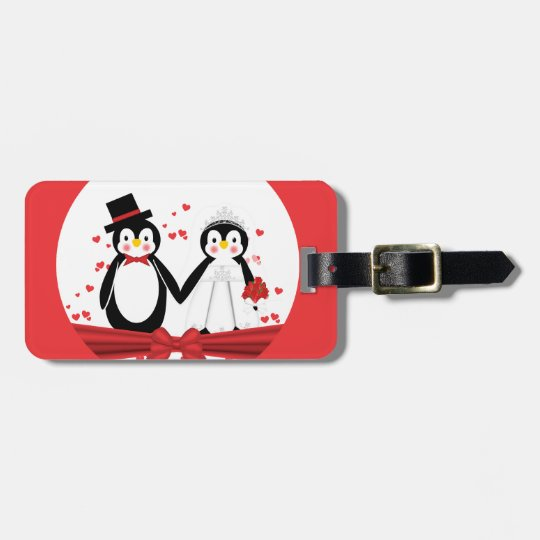 Cute Penguin Bride & Groom Wedding Luggage Tag