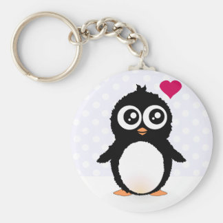 Cute penguin cartoon basic round button key ring