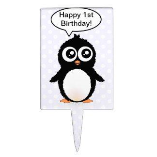 Cute penguin cartoon cake pick