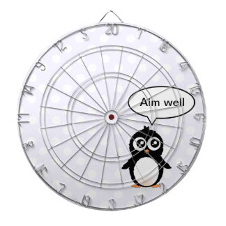 Cute penguin cartoon dartboard with darts