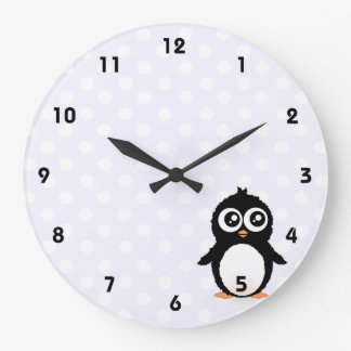 Cute penguin cartoon large clock