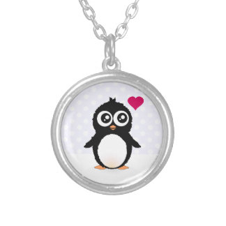 Cute penguin cartoon silver plated necklace