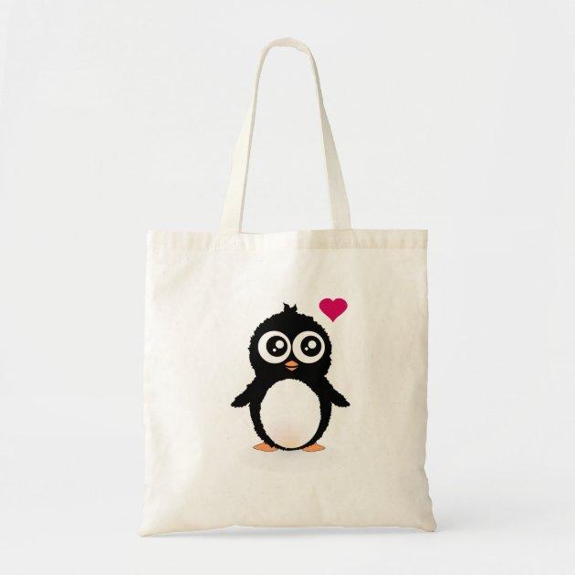 Cute penguin cartoon tote bag | Zazzle.co.uk