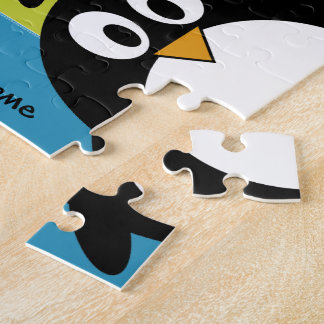 Cute Penguin Cartoon with Area for Name Jigsaw Puzzle
