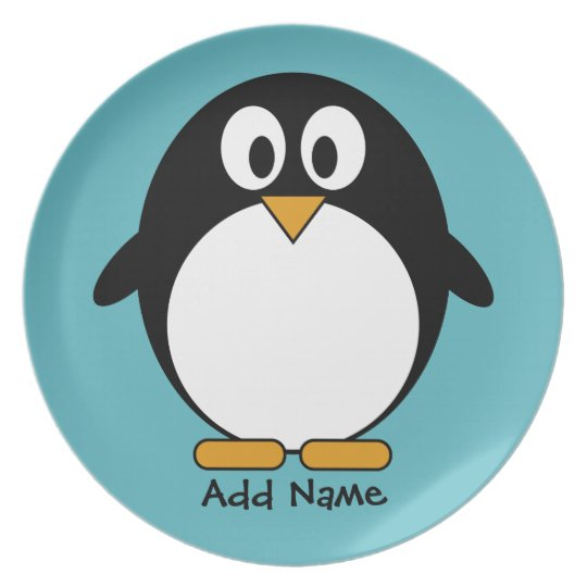 Cute Penguin Cartoon with Area for Name Plate