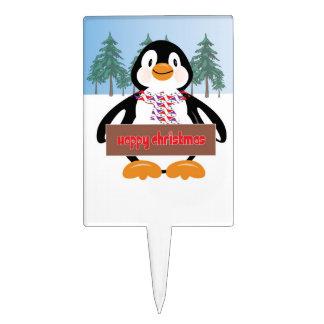 Cute Penguin Christmas Cake Topper