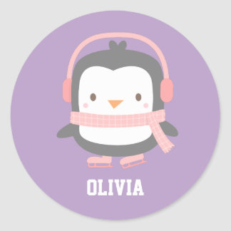 Cute Penguin Christmas Fillers for Girls Round Sticker