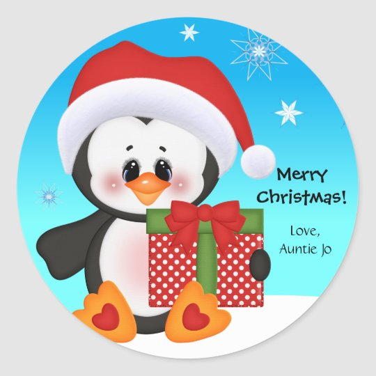 Cute Penguin Christmas Gift Sticker