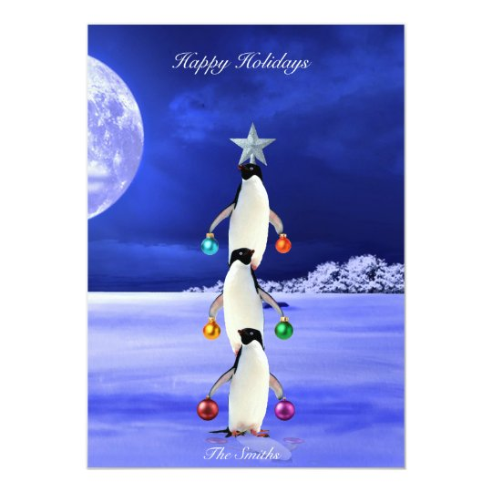Cute Penguin Christmas Tree Greeting Card