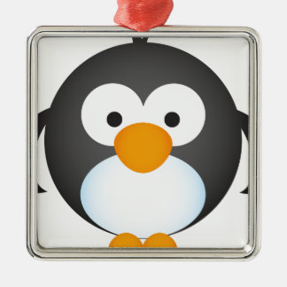 Cute Penguin design Silver-Colored Square Decoration