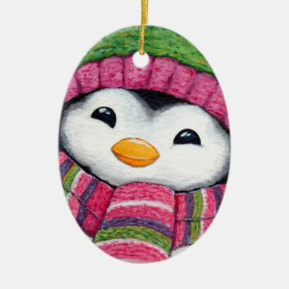 Cute Penguin Dressed for Snow Christmas Ornament