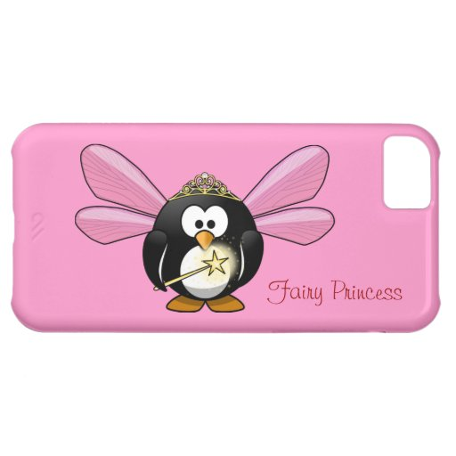 Cute Penguin Fairy Princess with Crown on Pink iPhone 5C Cases