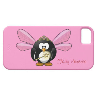 Cute Penguin Fairy Princess with Crown on Pink iPhone 5 Cases