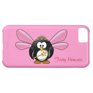 Cute Penguin Fairy Princess with Crown on Pink iPhone 5C Case