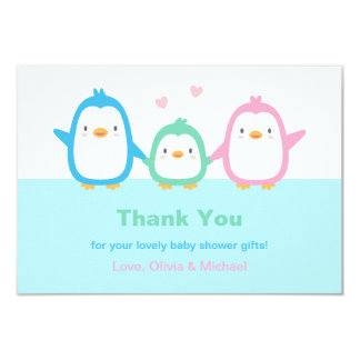 Cute Penguin Family Baby Shower Thank You Cards 9 Cm X 13 Cm Invitation Card