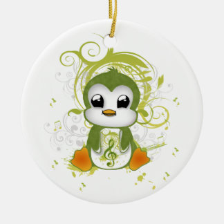 Cute penguin green fluffy effect music note swirls christmas ornament