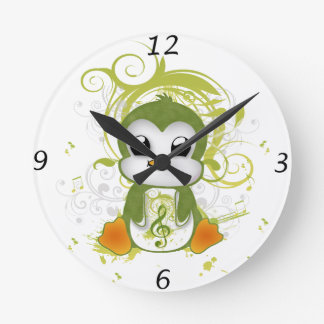 Cute penguin green fluffy effect music note swirls round clock