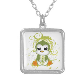 Cute penguin green fluffy effect music note swirls silver plated necklace