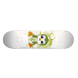 Cute penguin green fluffy effect music note swirls skateboard decks