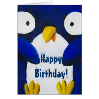 cute penguin happy birthday greeting card