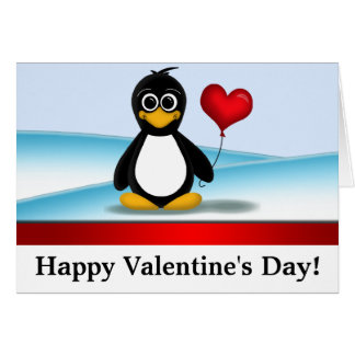 Cute Penguin Happy Valentine's Day NoteCards Card