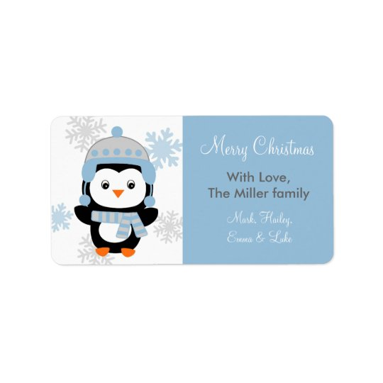 Cute Penguin Holiday Christmas Gift Labels